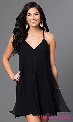 Black V-Neck Shift Dress at PromGirl.com