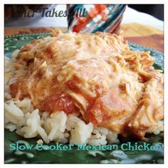 #Slowcooker mexican chicken Only a few ingredients and toss it in the slow cooker and forget it til dinner time. Creamy but full of Mexican flavor. #recipe