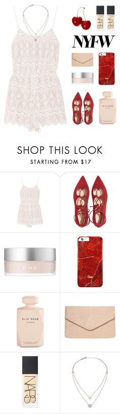 """""""Cherry Bomb { desc. }"""" by alexis-belaruano ❤ liked on Polyvore featuring Alice + Olivia, RMK, Elie Saab, Dorothy Perkins, NARS Cosmetics, Michael Kors, NYFW and laceup"""