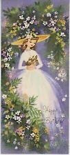 Vintage Pretty Girl Verano Jardín De Flores helechos Conejo de impresión de tarjetas parisino