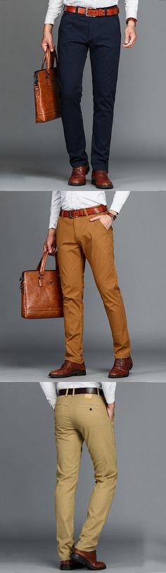 Mens Cotton Business Straight Pants Casual Solid Elastic Pants Business  Casual Attire 7d8d1dac5cab