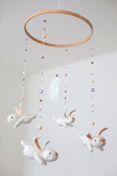 made to order - Baby mobile - pink nursery mobile - baby crib mobile - bunny mobile on Etsy, 89,00 €