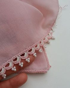 Heart of Crochet Embroidered Beads Model - Crochet Edging Patterns, Crochet Lace Edging, Crochet Motifs, Crochet Borders, Baby Knitting Patterns, Crochet Designs, Hand Embroidery Dress, Hand Embroidery Designs, Beaded Embroidery