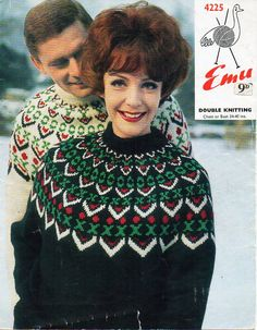 Vintage womens / mens chunky Fair isle sweater knitting pattern ...