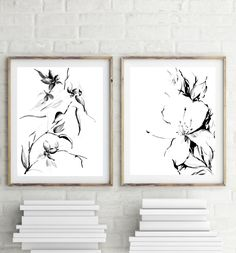 Minimalist floral Prints Set, black and white modern art, ink drawing of flowers, set of 2 fine art prints, wall art by CanotStopPrints on Etsy