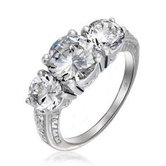 Bling Jewelry Vintage Art Deco Style 3 Stone Round CZ Engagement Ring 925 Silver
