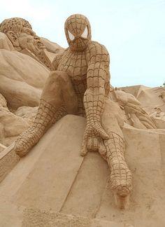 Spider-Man Sand Sculpture !! ❤
