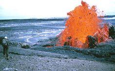 Low lava fountain and flow at base of Pu`u`O`o, episode 53, Kilauea Volcano, Hawai`i