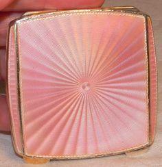 Antique Vintage Square pink guilloche enamel compact