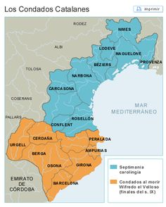 Los condados catalanes Pre Romanesque, Map Of Spain, Ottonian, Medieval, Geography Map, Carolingian, Historical Maps, Planer, Spanish
