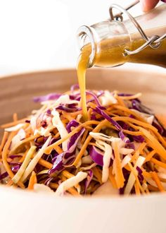 Fantastic Asian Sesame Dressing made with soy sauce, sesame oil, vinegar and sugar. Keeps for 3 weeks. Use for Asian Slaws, leafy greens and noodle salads! Big batch to keep (makes 1 cup) ¼ cup soy sauce 2 tbsp sesame oil ⅓ cup (4 tbsp) white vinegar ¼ cup olive oil (Note 1) 1 tbsp sugar (any type) or 1½ tbsp honey