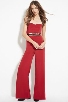 12 Forever 21 Contemporary - A strapless woven jumpsuit featuring a sweetheart neckline with boning, an exposed back zipper, and a wide-leg silhouette.
