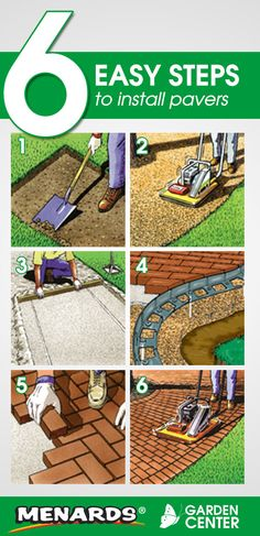 6 Easy Steps to Install Pavers from the Menards Garden Center. Read full article: http://www.menards.com/main/c-10049.htm?utm_source=pinterest&utm_medium=social&utm_content=install_pavers&utm_campaign=gardencenter