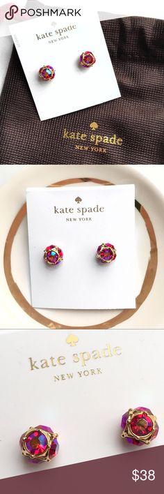 Kate Spade Lady Marmalade Stud Earrings Gold plated stud earrings with sparkly bright pink crystals.  Faceted glass crystal rounds on every side.  Post backs.  Brand new with tags and includes dust bag. Last picture is not actual color it is just to show size kate spade Jewelry Earrings