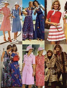 Phu nữ thập niên 70 với đa dạng các trang phục mini skirt, maxi với họa tiết màu sắc rực rỡ.