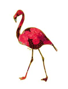 Flamingo Animal Art Print, Number Two, animal print, gold flamingo