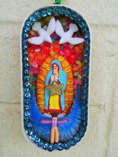 Virgin of Guadalupe Recycled Sardine Tin Pocket Sized Mini Shrine Catholic Saint