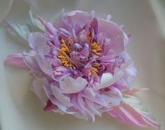 Accessories, wedding, violet, hair clip, violet peony, large flower, pink flower, corsage, hair accessories, bridal headwear by FlowerBlues on Etsy