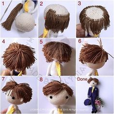 Sharing my tutorial of making short hair for doll. The most difficult part is... cut short the yarn ...
