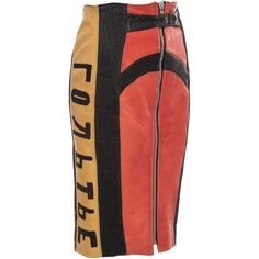Jean Paul Gaultier 'Russian Constructivist' Leather Skirt, Autumn... (2,330 CAD) ❤ liked on Polyvore featuring skirts, jean-paul gaultier, leather skirts, jean paul gaultier skirts, real leather skirt and front zip skirt