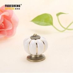 2017 New Vintage Pumpkin Ceramic Furniture Handle Door Knob Cabinet Drawer Cupboard Pull White Color High Quality Hot selling