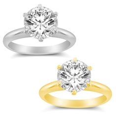 14k Yellow or White Solid Gold 1ct Round Cubic Zirconia Solitaire Ring (White - 9), Women's