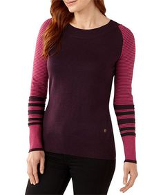Loving this Heather Aubergine Stripe Merino-Blend Crewneck Tee - Women on #zulily! #zulilyfinds