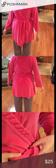 Robe Nice velour feeling robe. Has attached belt. ( looks like it has been reattached, see picture). Has tie on inside to tie closed. Ruffled detail. lily pulitzer Intimates & Sleepwear Robes
