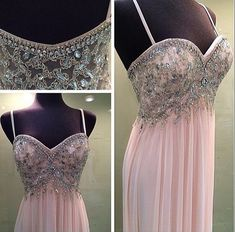 Charming Spaghetti Straps Chiffon Prom Dress,Pink Prom Dresses,Backless Prom Dresses,Sexy Prom Dress,V Neck Prom Gown,Long Evening Dress,Sexy Party Gowns 2017