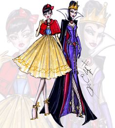 Disney Divas 'Princess vs Villainess' by Hayden Williams: Snow White & The Evil Queen - Hayden Williams Fashion Illustrations - haydenwilliamsillustrations.tumblr.com