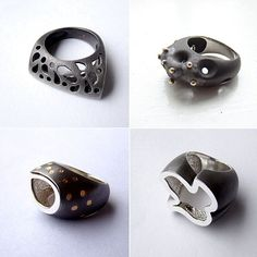 Oxidized silver rings by Costa Rican jeweller Jimena Bolaños