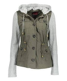 Look what I found on #zulily! Olive & Gray Removable-Hood Jacket…