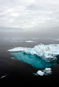 Iceberg - a huge block of floating ice broken from a glacier, found in the most northerly and southerly areas of the world's oceans