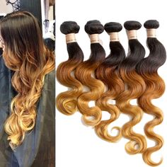 3 Tone Ombre Brazilian 100% Human Hair Extension  Body Wave Hair Weft 6A Grade #WIGISS #HairExtension
