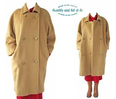 Vintage Golden Beige Cashmere Wool Long Coat by BreatheandLetItBe