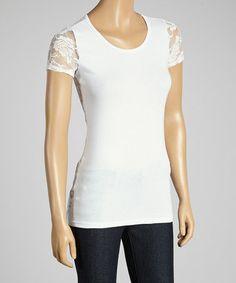 White Lace Cap-Sleeve Tee #zulily #zulilyfinds