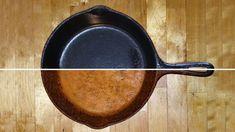 Les casseroles en fontes durent toute une vie et permettent une cuisson uniformes et sa surface ne contient pas de produit chimique... Voici comment préparer sa casserole très facilement. Rusted Cast Iron Skillet, Cast Iron Pot, Cast Iron Cookware, It Cast, Cast Iron Griddle, Cast Iron Frying Pan, Cast Iron Cooking, Iron Pan, How To Clean Rust