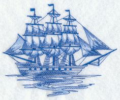 Clipper Ship Sea Sketch
