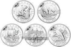 Canada 2013 Oh! Canada  - Complete 5-Coin Wildlife Collection - Beaver, Polar Bear, Lone Wolf, Caribou and Orca Killer Whale $10 Pure Silver Matte Proof Set