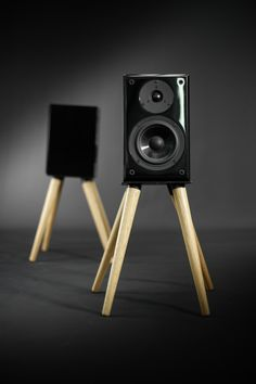 Audio speaker stand iron and wood 2 units by Habitables on Etsy
