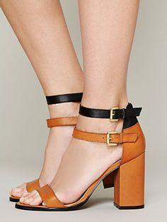 Camel & Black @ Free People. Gin Double Strap Heel