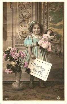 Cute Little Girl with Doll Antique Vintage French Tinted Photo Postcard