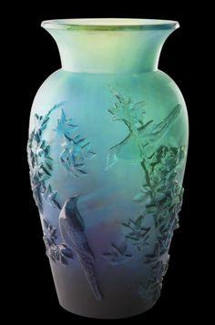 Daum Crystal Winter Vase Blue 05294-4
