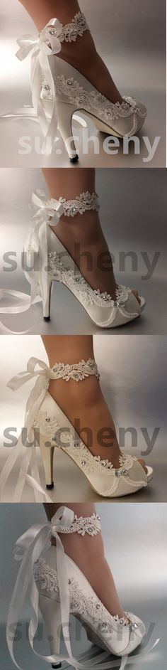 Wedding Shoes And Bridal Shoes: 34 Heel Satin White Ivory Lace Ribbon Ankle Open Toe Wedding Shoes Size 5-9.5 BUY IT NOW ONLY: $49.99