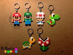 Full Set of 6 Mario Character Magnets, Charms and Keychains from Perler Beads