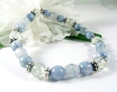 Blue Czech Glass Bracelet w Silver Accents by EnchantedRoseShop