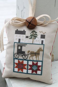 Completed Cross Stitch Door Hanger Amish Home Buggy Quilt Decorative Housewares