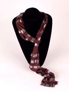 Sjaal bruin met zilveren pailletten