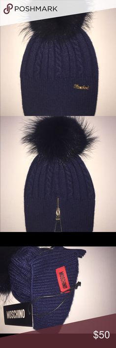 Moschino wool hat with Raccoon fur Pom Navy New Moschino wool hat with Raccoon fur Pom. The Pom is detachable. Navy with navy Pom. Golden zipper on the back with the Moschino charm. Wool blend. One size. Made in Italy. Moschino Accessories Hats