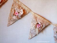 Lace bunting with flowers, dyed with tea! Make flowers replaceable/interchangeable for seasons #P31Hands